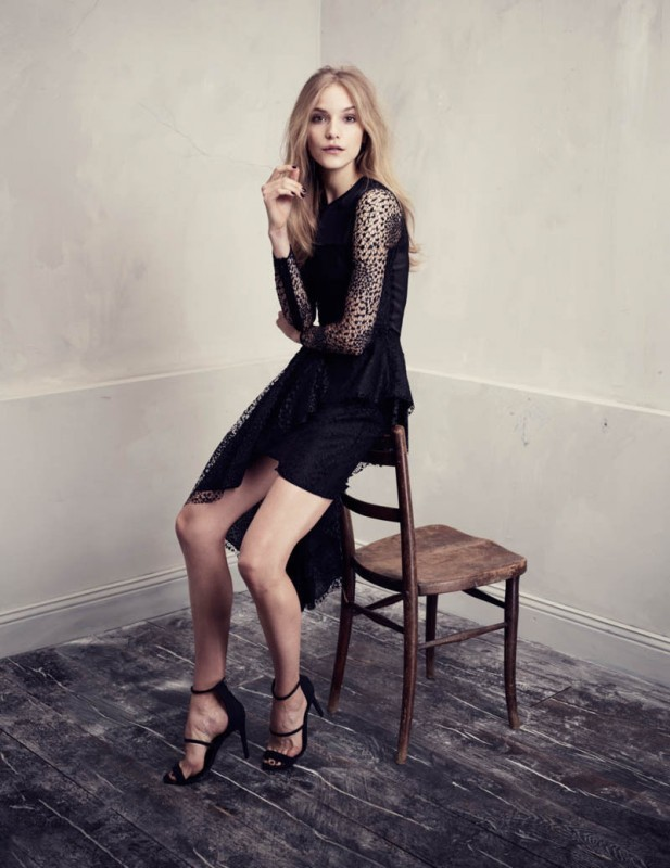 H&M Conscious Exclusive ASYMMETRIC BLACK LACE DRESS UK10/EU36/US6