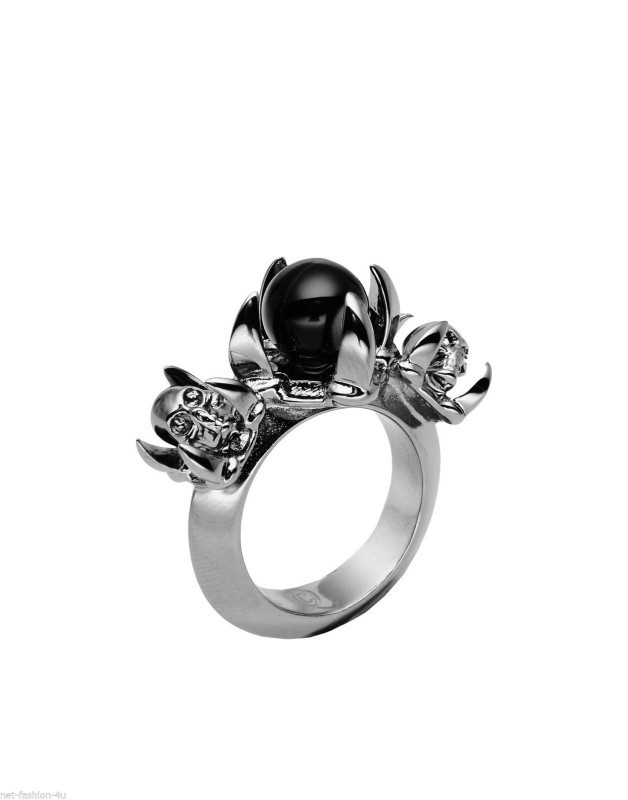 ALEXANDER McQUEEN SKULL CLAWS & PEARL COCKTAIL RING IT 11 US 5.75 UK L 12 BNT