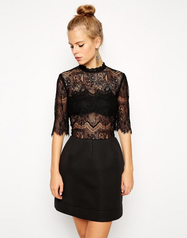 ASOS High Neck Lace Top Dress With Bonded Lantern Skirt Black UK 6EU 34US 257