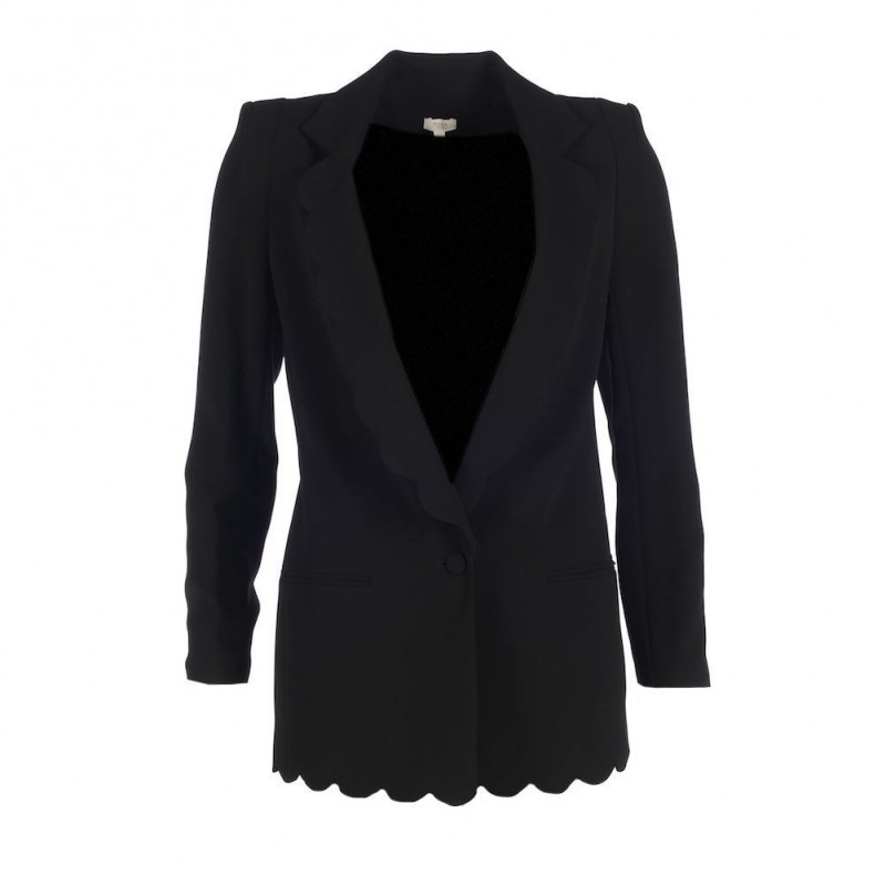 HOSS INTROPIA Blazer Black Long Sleeved Scallop Hem Size 36 UK 8 SW 345