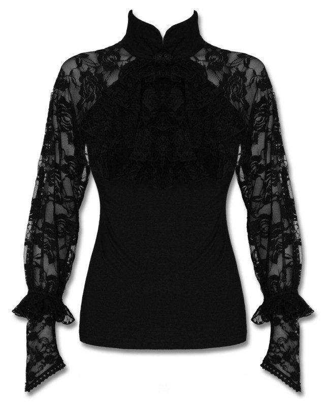 Punk Rave Mortifera Blouse Top Black Gothic Steampunk Lace Sleeve Jabot Vintage