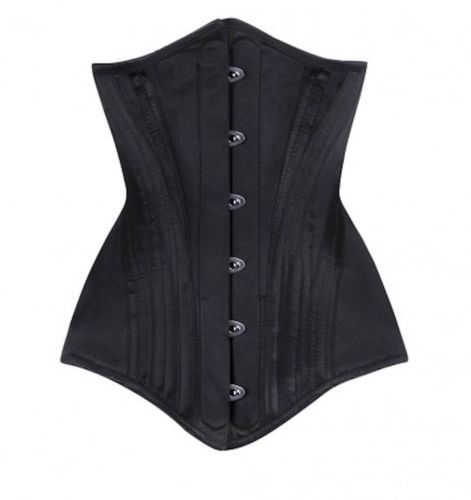 Vintage Goth Long line under bust spiral steel boned corset in 22 inch