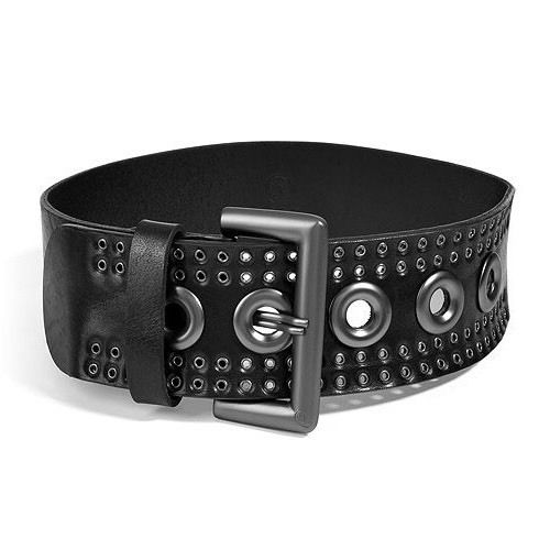 ALEXANDER MCQUEEN Black Leather Wide Waist Belt M 27-33 Ladies